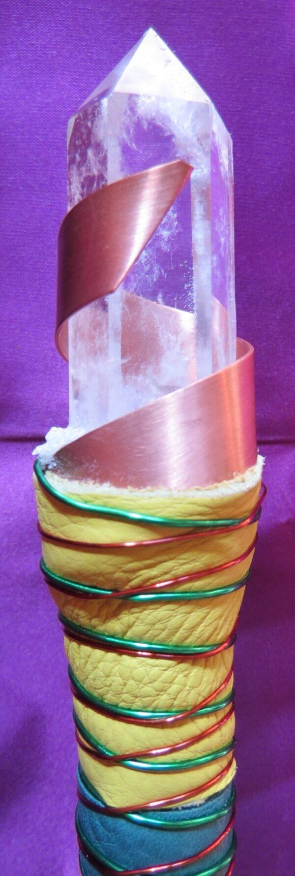 Double-Terminated-Quartz Generator-Labradorite & Hematite Sphere